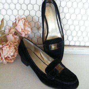 Ralph Lauren Chaps Black Suede Loafers Percy 9.5